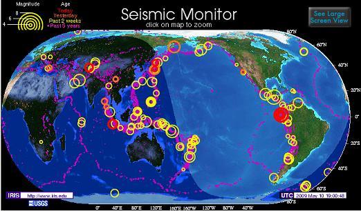 Карта сейсмологической активности в реальном времени