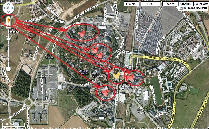 Парижский Диснейленд на карте