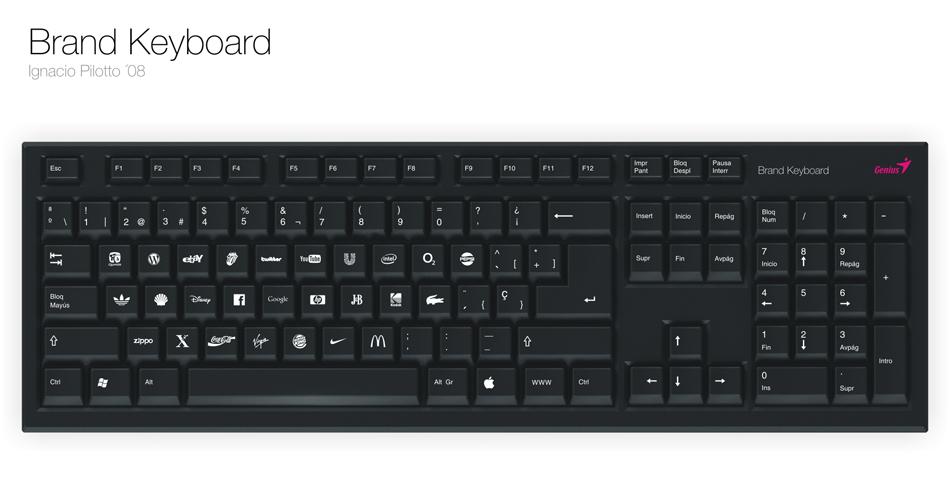 Вот полный список брендов, логотип которых размещен на клавишах этой...