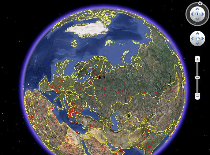Карта «Обновления в Google Earth»