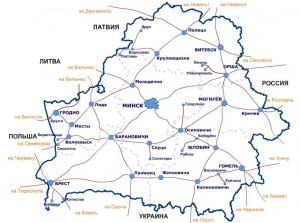 Карта железнодорожных путей Беларуси