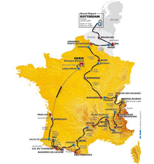 Карта - Тур де Франс 2010