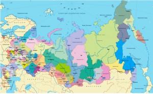 Карта России с отображением крупных городов