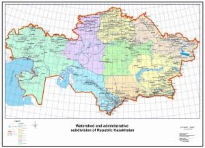 Карта речных бассейнов Казахстана