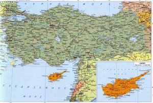 Карта основных городов Турции