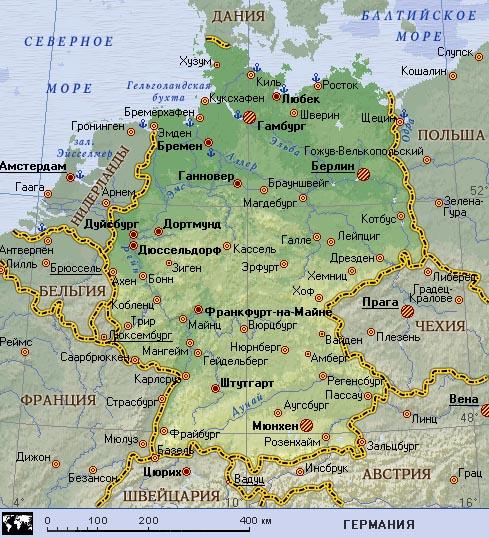 Карта крупных городов германии