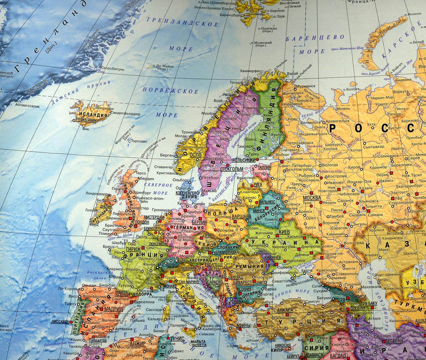 Политическая карта европы на