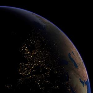 Ночная карта Европы. Вид из космоса