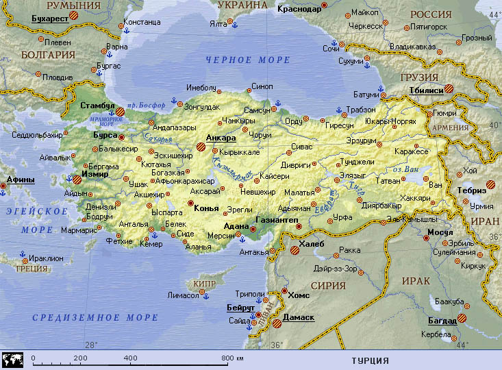 показать карту границу россии с турцией
