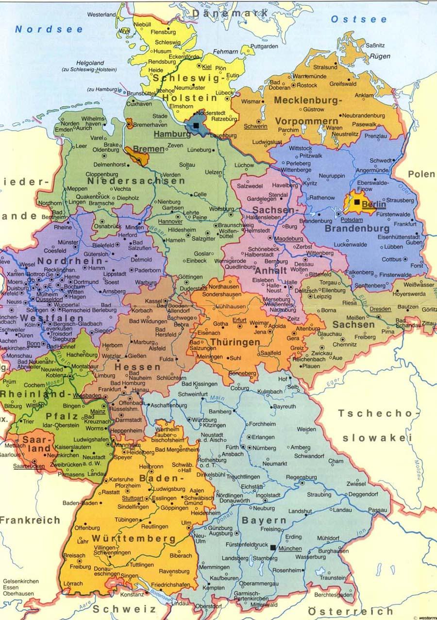Германия состоит из 16 земель которые