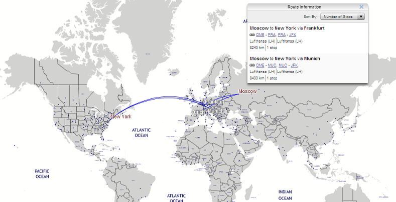 Карта авиамаршрутов