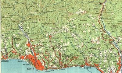 Физическая карта Сочи