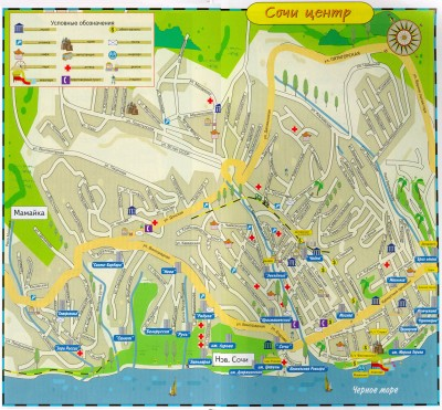 Карта центра Сочи