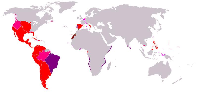 Анахроническая карта колониальной экспансии Испанской империи
