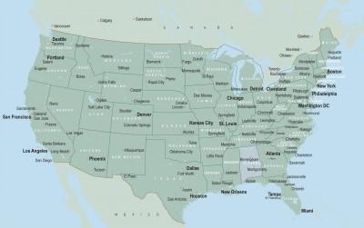 Карта штатов США с главными городами
