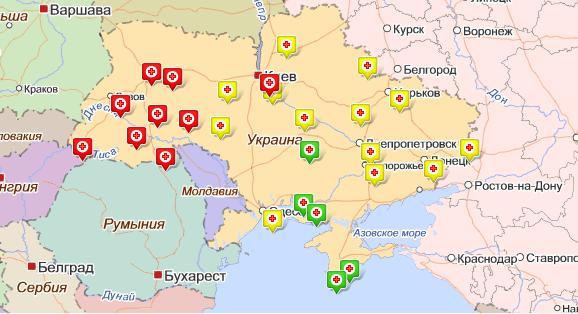 Карта распространения вируса гриппа