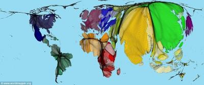 Карта мира по плотности населения