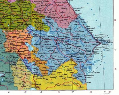 Географическая карта Азербайджана