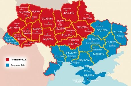 Карта выборов на Украине