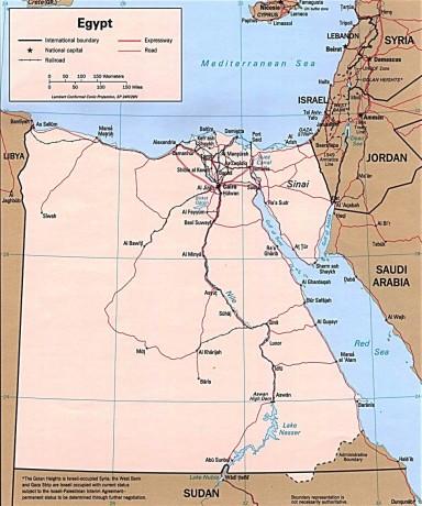Дорожная карта Египта на английском языке