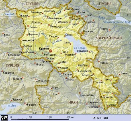 Карта Армении с отображением основных городов