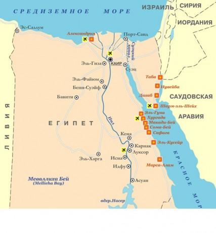 Карта Египта с отображением основных городов