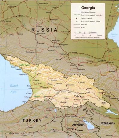 Карта Грузии с отображением главных городов