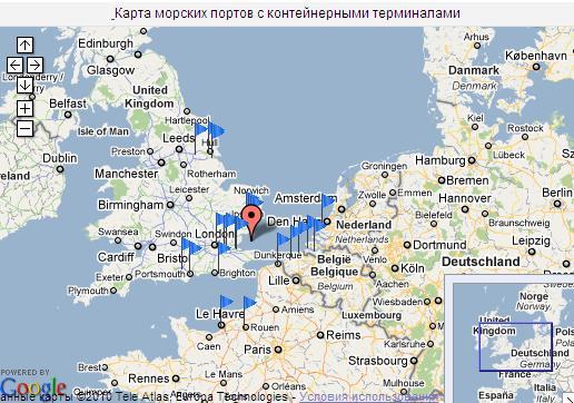 Морские порты на карте