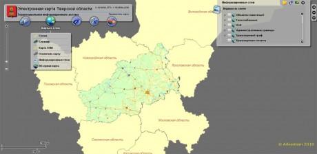 Электронная карт Тверской области