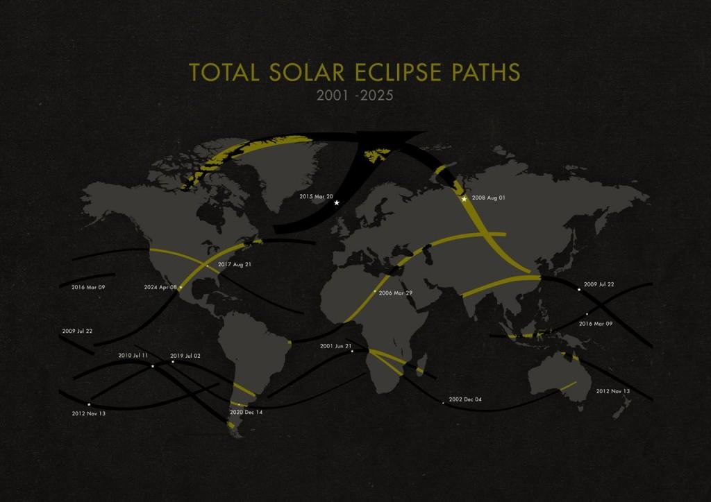 Карта солнечных затмений