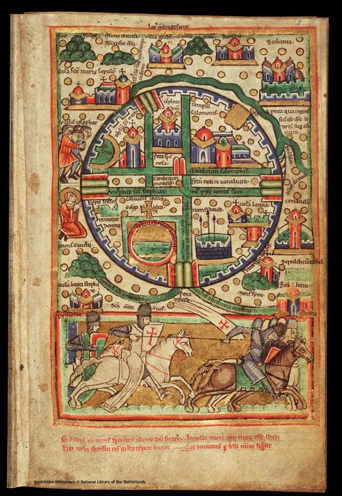 карта 12 века изображает план Иерусалима