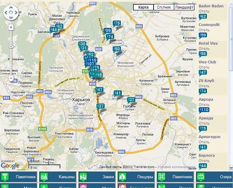 Гостиницы Украины на карте