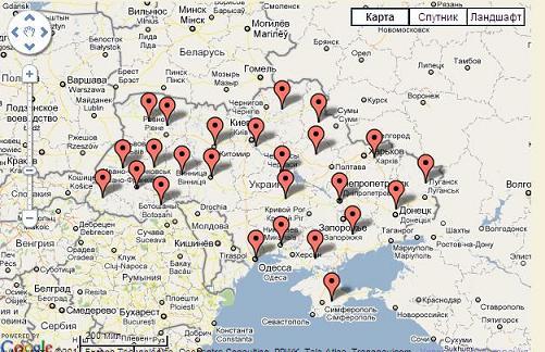 Карта гостиниц Украины