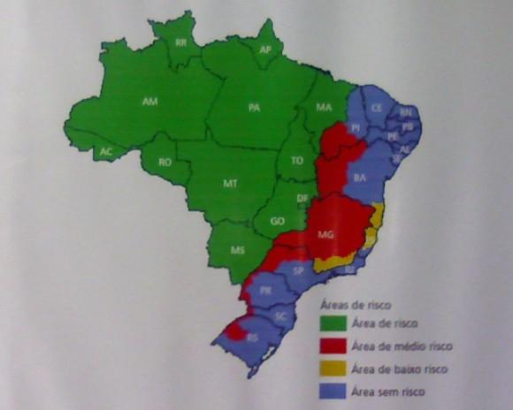Карта малярии в Бразилии