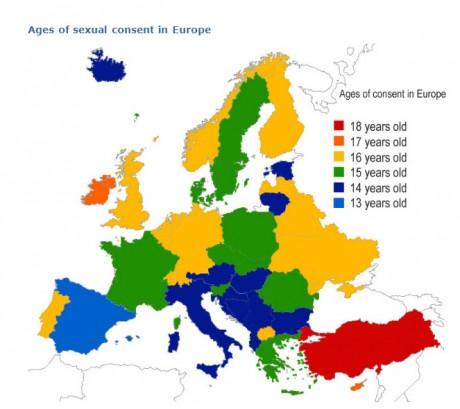 карта возраста сексуального согласия в Европе