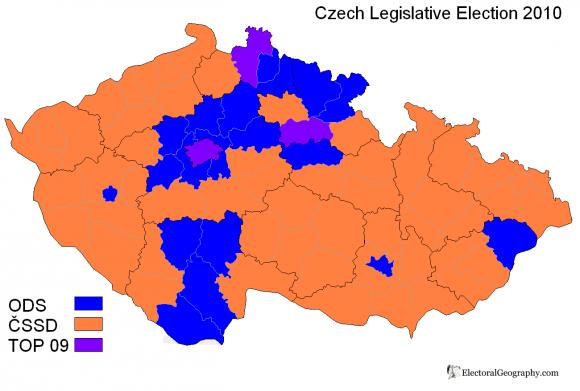 Карта победителей парламентских выборов в Чехии