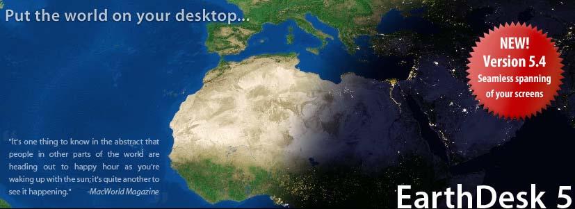 EarthDesk - программа заменяет обои рабочего стола в операционных