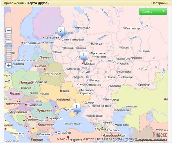 Яндекс.Карты для пользователей ВКонтакте