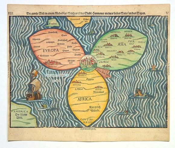 карта мира 1581