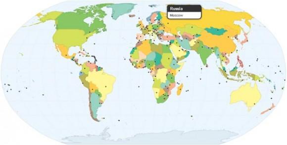 Страны и их столицы на карте