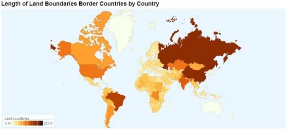 длина государственных границ на карте
