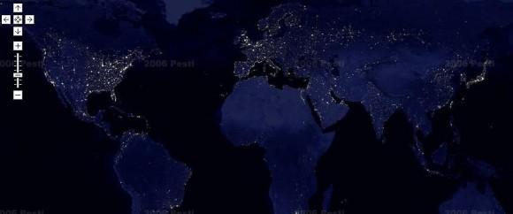 интерактивная карта ночной Земли