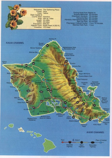 карта Оаху