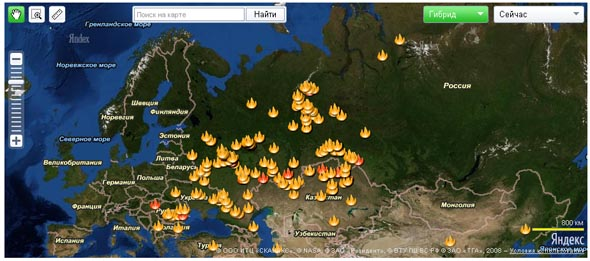 Лесные пожары на Яндекс Картах