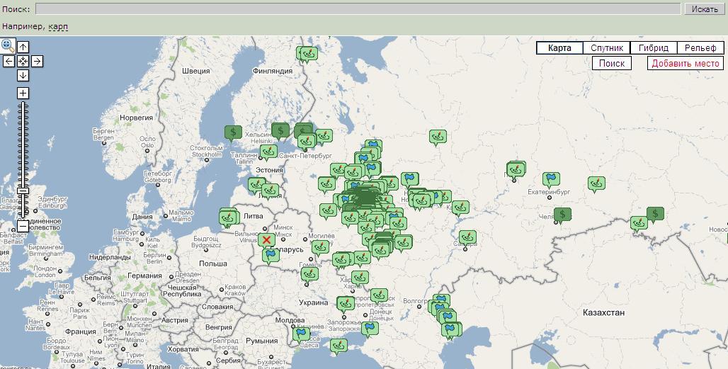 Платные рыбалки в московской области на карте