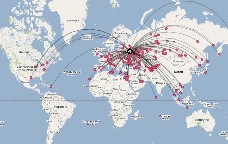 Схема полётов самолётов на карте мира