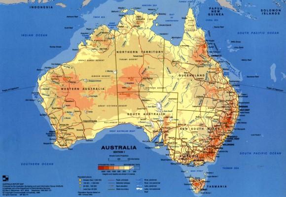 Туристическая карта Австралии