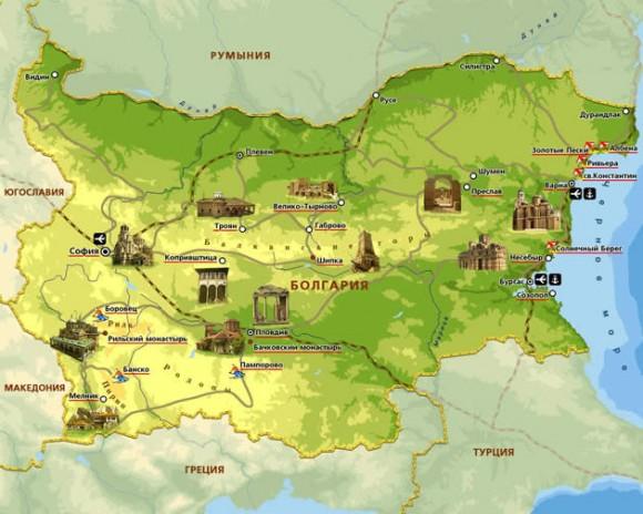 Экскурсионная карта Болгарии