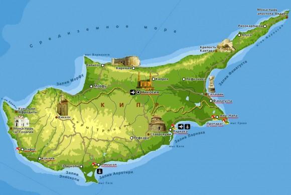 Туристическая карта Кипра