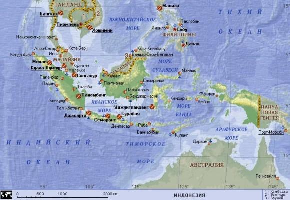 Туристическая карта Индонезии